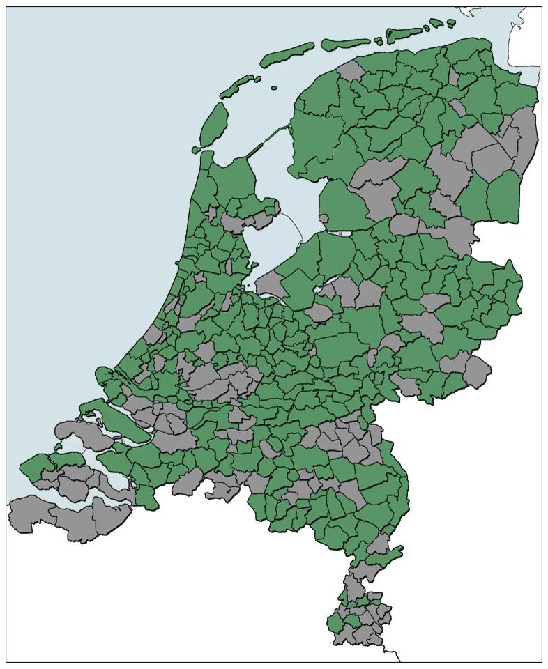 Figuur 1. Bij de Statiegeldalliantie aangesloten gemeenten op 8 mei 2018.